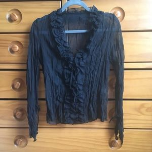 Tops - 4/$20 Chiffon Long Sleeve Wrinkled Top S